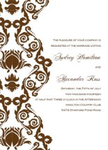 brown damask wedding invitation templates