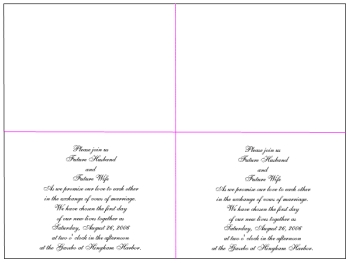 two-up format or 2-up invitations