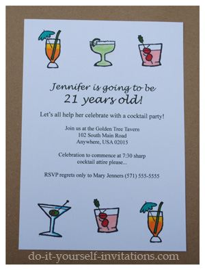 Handmade 21st Birthday Invitations