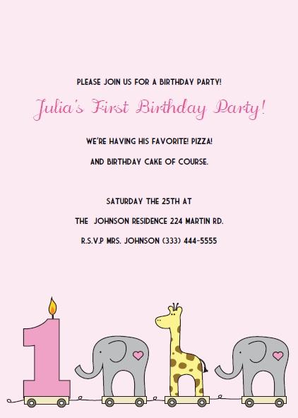 elephant giraffe girls 1st birthday invitations