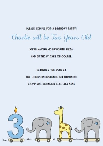 elephant giraffe boys 1st birthday invitations