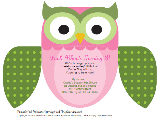 picture relating to Printable Owls named Printable Do-it-yourself Small children Birthday Invites: Lovely Owl Invitations