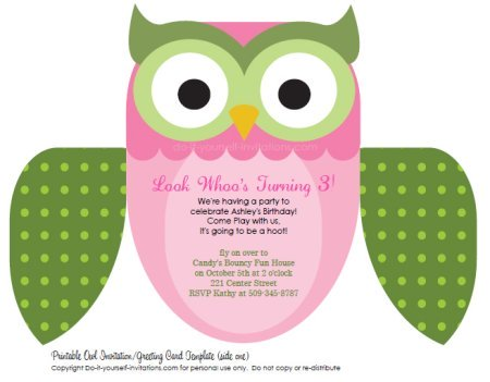 pink and green printable owl invitations