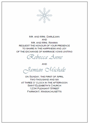 Snowflake Wedding Invitation Templates