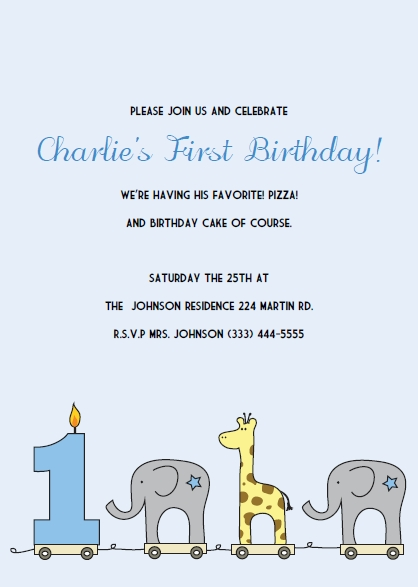 Elephant Giraffe Boys 1st Birthday Invitations  Free Birthday Invitations Templates For Kids