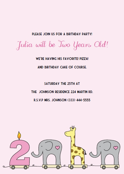elephant giraffe girls 1st birthday invitations