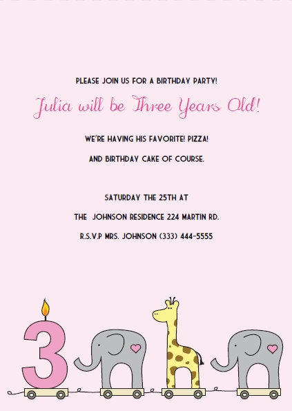 Printable 3rd birthday invitations diy party invitation kits elephant giraffe girls 1st birthday invitations filmwisefo