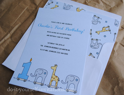 printable elephant and giraffe 1st birthday invitations