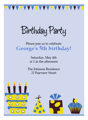 blue cake birthday party Invitations