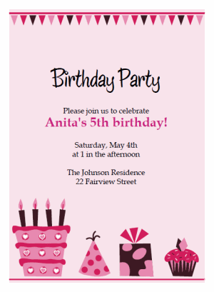pink cake birthday party Invitations
