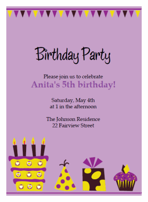 Purple birthday invitation template zrom purple birthday invitation template maxwellsz