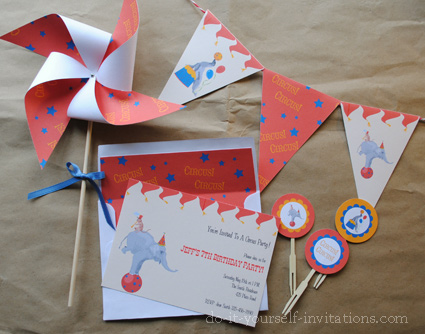 printable birthday invitations kits circus