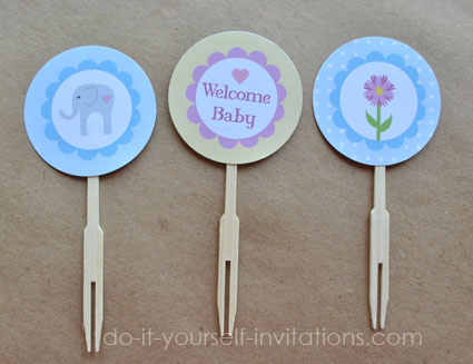 elephant baby shower printable cupcake topper