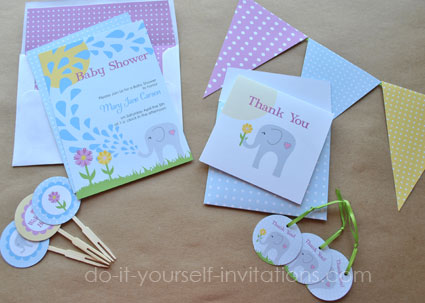printable elephant baby shower invitations templates,