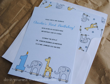 Printable 1st Birthday Invitations Elephant and Giraffe – First Birthday Printable Invitations