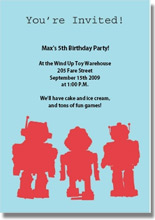 robot printable birthday invitations