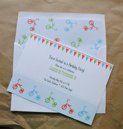 tricycle birthday party invitations kit printable invitations and ...