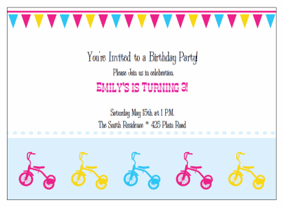 tricycle birthday party Invitations