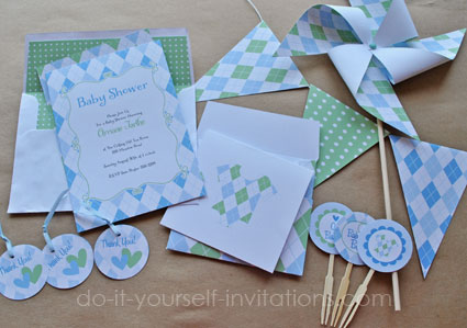 printable baby shower invitations: blue argyle invites,