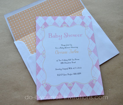 pink argyle printable baby shower invitations