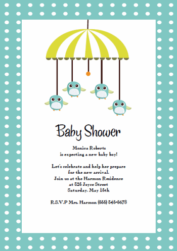 printable baby shower invitation templates: baby birdy mobile,