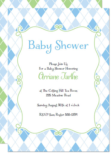 blue argyle printable baby shower invitations