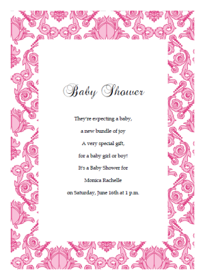 Damask Baby Shower Invitation Template - Pink baby shower invitation templates