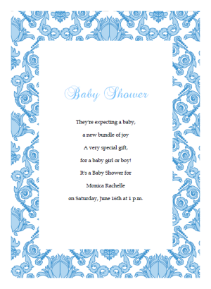 Damask baby shower invitation template blue baby shower invitations stopboris Images