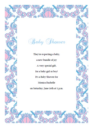 pink and blue baby shower invitations