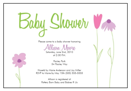 baby shower invitation templates flower garden whimsy