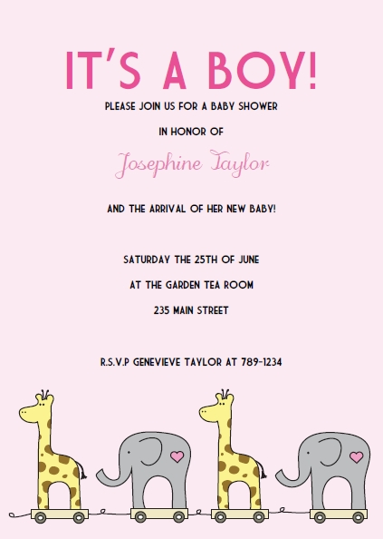 pink elephant giraffe baby shower invitations