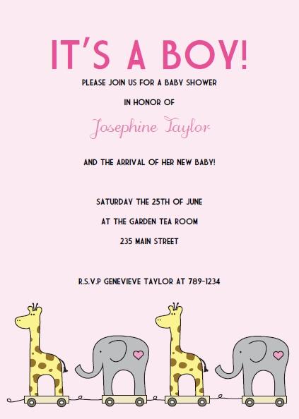 Printable Giraffe Baby Shower Invitations