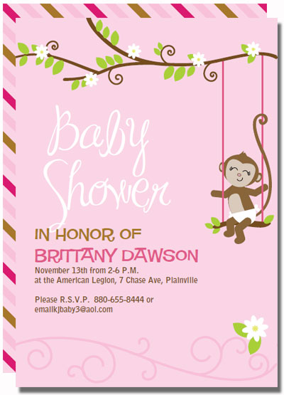 Pink Monkey Baby Shower Invitations