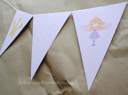 printable fairy princess birthday bunting