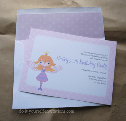 printable fairy princess invitations