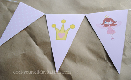 printable fairy princess birthday bunting