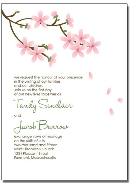 printable apple blossom wedding invitations
