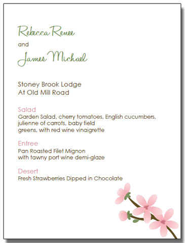 apple blossom wedding invitation menu