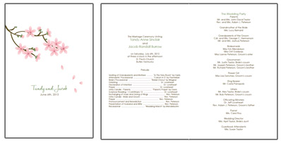 apple blossom wedding programs