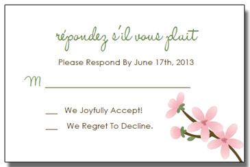 apple blossom wedding invitation rsvp