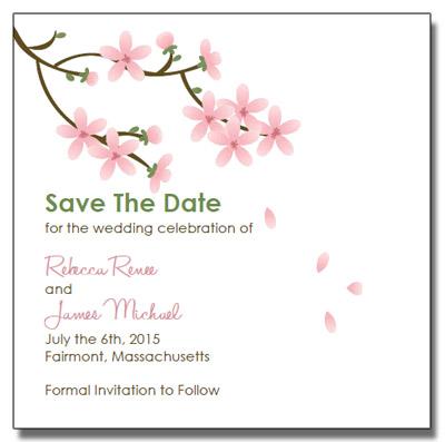 Apple Blossom Wedding Invitations – Free Printable Wedding Save the Date Templates