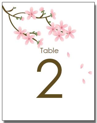 apple blossom wedding table numbers