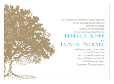 Printable Wedding Invitations - Antique Tree Engraving Print