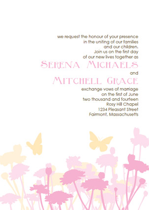 butterfly wedding invitations pink and yellow invitation template kit