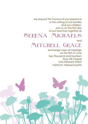 lavendar butterfly wedding invitations