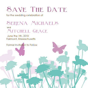 Butterfly wedding invitations lavendar and turquoise invitation purchase a la carte printable save the date pronofoot35fo Image collections