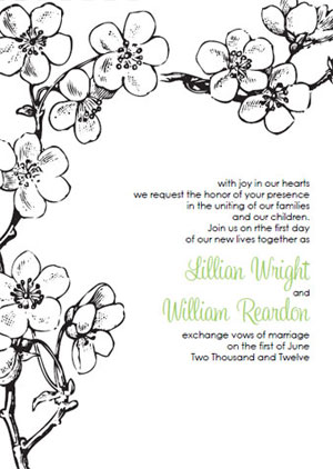 vintage cherry blossom wedding invitations Black and White Cherry Blossom