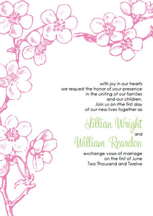pink cherry blossom wedding invitations
