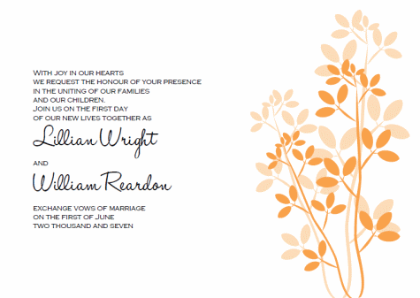 leaves printable wedding invitation templates