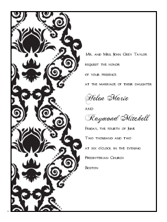 Printable Wedding Invitations Templates: Damask Print